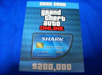 PS4 グランドセフトオート5/GTA5 タイガーシャークマネーカード 20万ドル $200,000 特典コード/DLC グランドセフトオートオンライン(GTA)