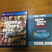 グランドセフトオートオンライン(GTA)-【美品/ゆうメール送料無料】PS4 グランドセフトオート5 GTA5 特典プロダクトコード付き (「GTAオンライン」マネー$20万)
