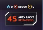 [レベル100] 45 APEX PACKS 58200 TOKENS AP1045 APEX Legends